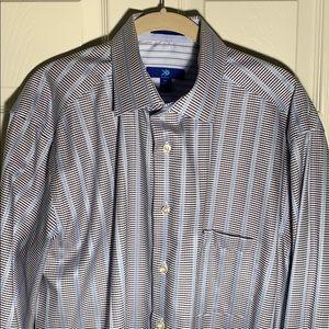 Egara XL Light Blue Striped Dress Shirt